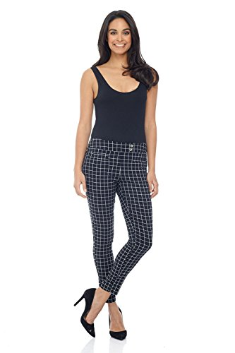 Rekucci Women's Ease in to Comfort Slim Ankle Pant with Snaps (14,Ink/White Check)