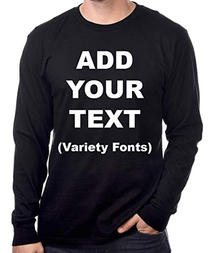 Custom Long Sleeve Premium t Shirts Add Your Own Text for Men & Women Unisex Cotton [ Black/S ]