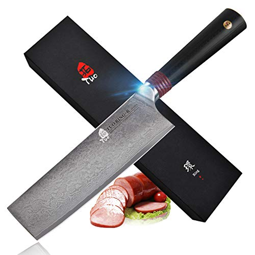 TUO Cutlery Nakiri Knife - Damascus Vegetable Cleaver Kitchen Knives - Japanese AUS-10 HC Stainless Steel Cutting Core Blade - Rose Damascus Pattern - G10 Handle - Ring-RC Series -6.5