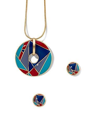 Enamel Pendant Necklace Pierced Stud Earrings Jewelry Set Snake Chain Open Charm (gray, red, triangles) (Pendant Pierced Jewelry)