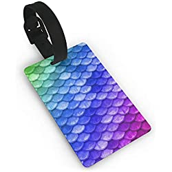 AMRANDOM 1 Pack Luggage Tag - Rainbow Mermaid Scales Blue - Men's Business Card Holder Suitcase Travel ID Labels Tag, Initial Bag Tag for Gym School