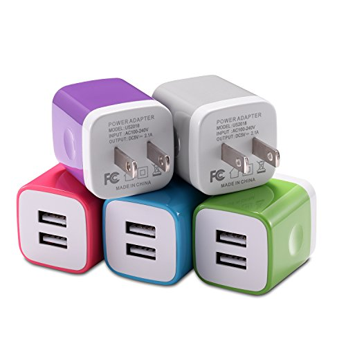 5 Pack Wall (iPhone Wall Charger, STELECH USB Plug 5-Pack 2.1A Universal Home Travel Dual USB Wall Charger for iPhone 7 Plus/ 7 / 6S / 6 Plus / 5S, iPad, Samsung, Nexus, LG, HTC, Android Phone and More)