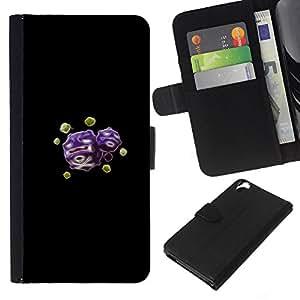 KLONGSHOP // Tirón de la caja Cartera de cuero con ranuras para tarjetas - Meter Skull Purple Monster - HTC Desire 820 //