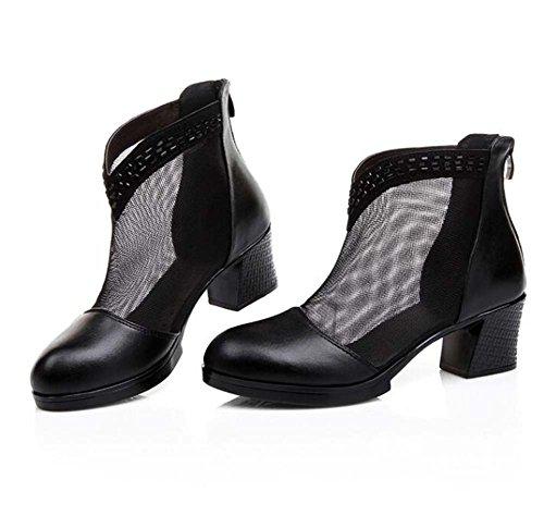 Sandalias de Malla Rhinestone de Baja Altura para Mujer Cómodo y Transpirable Beige/Negro Talla 35-42 Negro