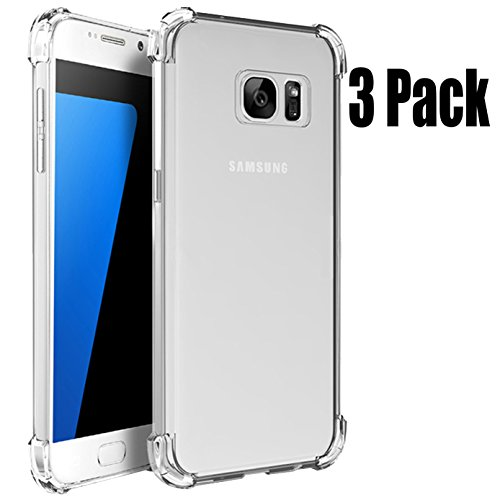 3Pack Samsung Galaxy S7 Crystal Clear Slim Bumper Cases ImageLifestlye Shock Absorbing Transparent Protection from Drops and Impacts TPU Gel Rubber Soft Skin Cover for Samsung Galaxy S7