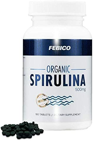 Organic Spirulina Tablets- Vegan, 100 Pure, Enriched Vitamin B12 Complex, Phycocyanin, Non-GMO, Gluten Free Non-Irradiated, USDA, Naturland, Halal Certified, 500mg, 180 Counts