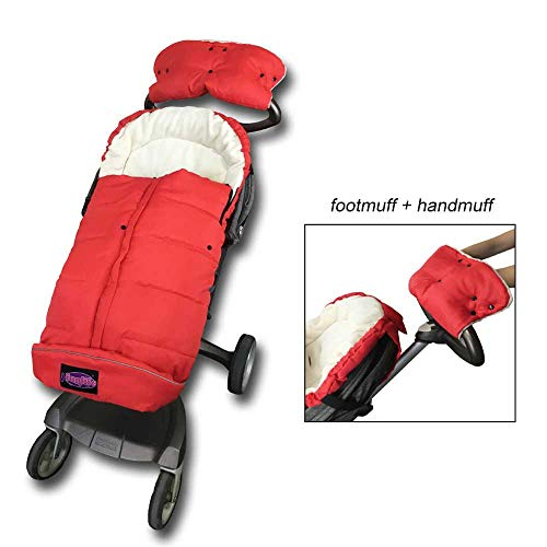 (Funlife All Seasons Stroller Cozy Warm Footmuff Included Hand Muff,Multi-Use,Baby Stroller Bunting Bag Recommend for 6-36M,Red)