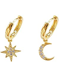 Crystal Moon Star Dangle Hoop Earrings for Women Teen Girls S925 Sterling Silver with Charms Asymmetrical CZ Diamond Drop Cartilage Cute Jewelry Delicate Fashion Birthday Gift Best Friend Gold Plated