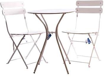 Amicasa. Mesa sillas de jardín Conjunto 3 Piezas Mesa + 2 ...