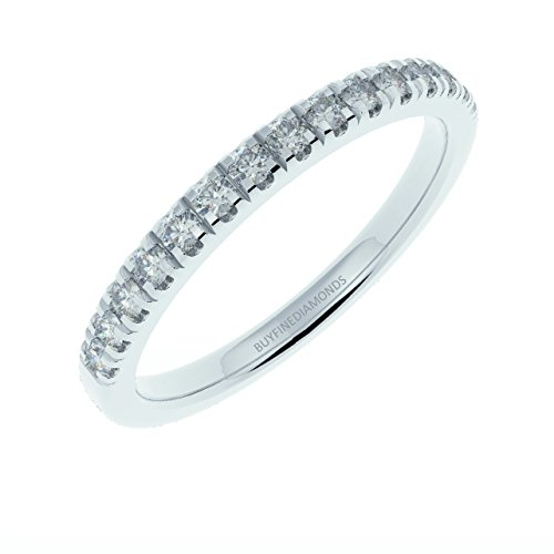 1/4Ct Round Diamond Micro Pave Set Half Eternity Ring, 9k White Gold Size J