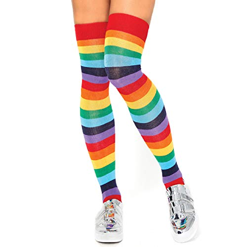 Leg Avenue Womens Spandex Rainbow Striped Thigh Highs