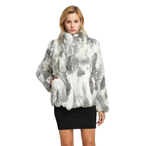Women's Genuine Rabbit Fur Coat with Mandarin Collar Winter Fur Jacket(Nature Gray,16)