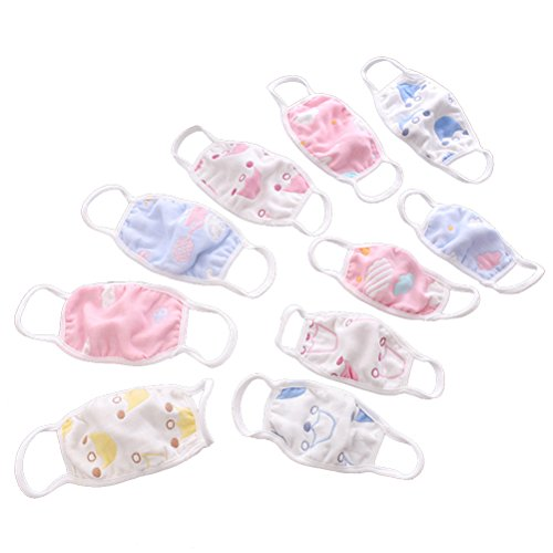 (Healifty Kids' Mouth mask 3pcs Antidust Cotton Mouth Masks for Newborn Babies Against Dust, Pollen, Allergens and Flu)