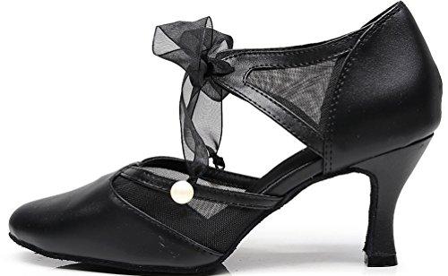 CFP 7131 Latin Ladies Tango Cha-Cha Swing Ballroom Party Wedding Sudue Sole Mid Heel Ankle Straps Pointed Toe PU Dance Shoes Black BaZ0tIeL