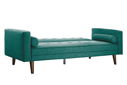 Novogratz Vintage Mix Sofa Futon, Premium Linen Upholstery with Natural Wooden Legs in Gold Finish, Teal