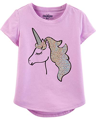 - Osh Kosh Girls' Toddler Sequin Short-Sleeve T-Shirt, Unicorn Glitter, 3T