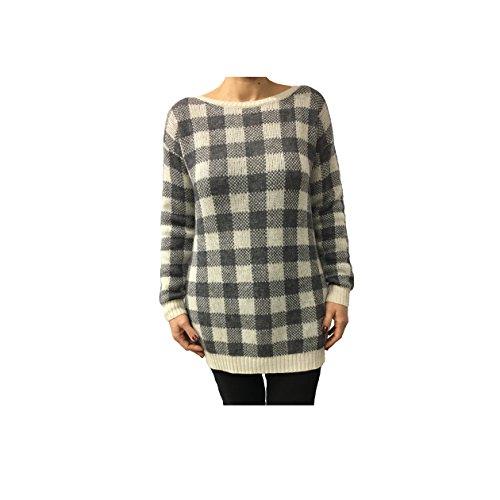HUMILITY 1949 maxi maglia donna quadri panna/grigio 30% mohair 30% poliammide 20% acrilico 20% viscosa MADE IN ITALY
