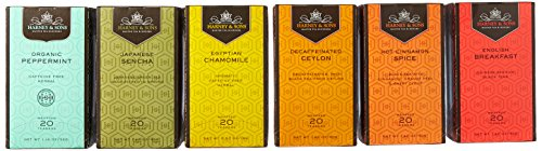 Harney & Sons Variety Pack Premium Tea Bags, 6 Flavors, 20 Tea Bags Each, (Egyptian Chamomile, English Breakfast, Hot Cinnamon Spice, Organic Peppermint, Japanese Sencha, Decaffeinated Ceylon )