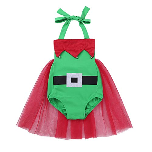 iiniim Baby Girls Christmas Elf Costume Tutu Dress Santa Little Helper Halter Romper Festive Outfits Green 6-12 -