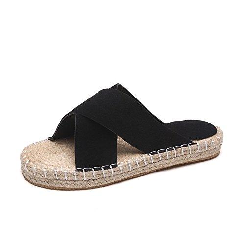 Summer Fashion Women Flat Sandals Flips Flops Womens Casual Leather Sandals Shoe(Black 35/4.5 B(M) US Women)