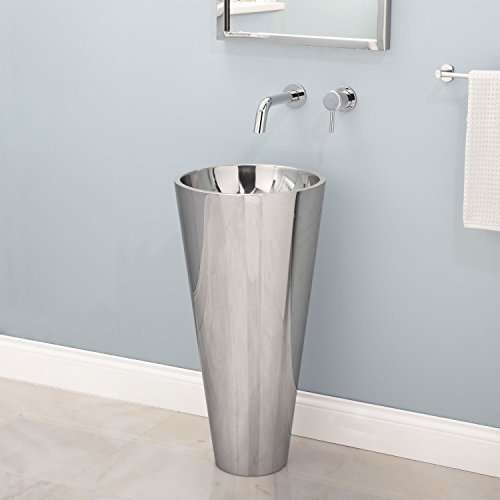 Naiture Polished Stainless Steel Finish Pedestal Sink With Chrome Finish Pop-Up Barthroom Drain- 1-1/2