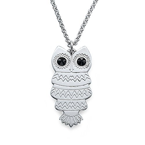 Necklace Pendant Custom Owl Necklace with Back Engraving Pendant Christmas Gift Birthday Present(18k rose-gold-plated-base 22