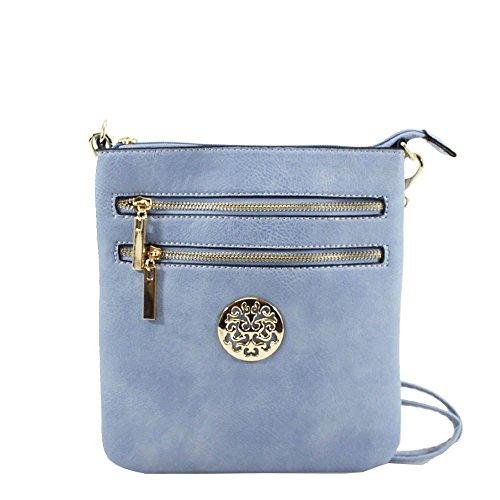 Faux Light Zip Double Leather Badge Blue Bag Detail Ladies Decoration Crossbody 76Hdq7w