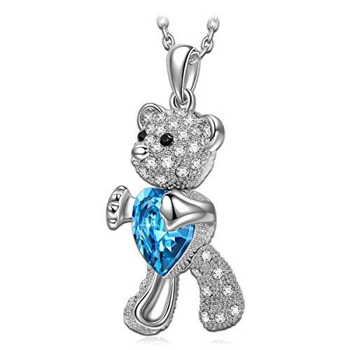 - QIANSE Teddy Bear Necklace Christmas Necklace Gifts for Girls Aquamarine Blue Swarovski Crystals Jewelry Animal Necklaces Teen Girls Teenager Birthday Gifts for Daughter Granddaughter Best Niece Gift