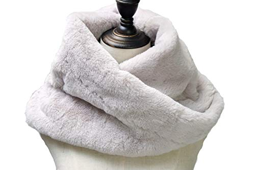 Price comparison product image Women Faux Fake Fur Collar Winter Warm Soft Furry Reversible Short Twist Wrap Around Scarf (Light Color)