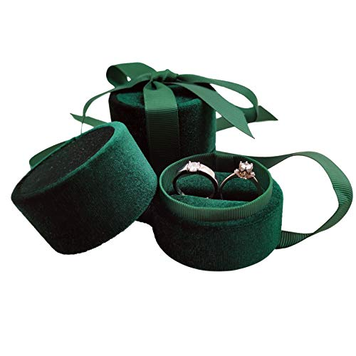 Bearda Velvet Double Ring Box - Premium Cute Round Ring Bearer Earring Jewelry Storage Organizer Gift Box with Elegant Silk Bow for Wedding, Engagement, Birthday, Christmas, Anniversary (Green) (Large Jewelry Ring Box)