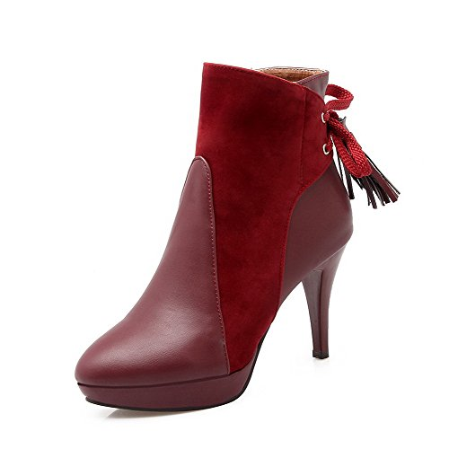 Closed Toe Top Claret Low Blend Zipper Materials Round Allhqfashion Stilettos Women's Spikes Boots SqnO1xaHHw