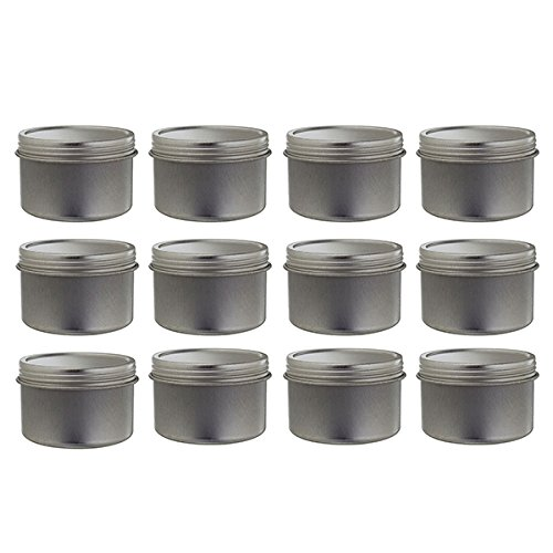 (2 oz Metal Steel Tin Deep Container with Tight Sealed Twist Screwtop Cover (12 pack)+ Labels)