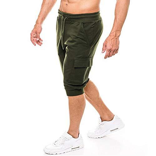 ALIKEEY es Cortos Casuales para Hombre La Moda Bolsillos es Sólidos del Estilo Slim-Fit es Deportivos Tejanos Ejercito Verde
