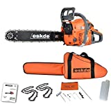 eSkde CS58-S7 Petrol Chainsaw 3.4HP Bar 2 Chains Bag Cover Accessories, Orange