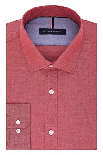 (Tommy Hilfiger Men's Non Iron Slim Fit Solid Spread Collar Dress Shirt, Cayenne, 16.5