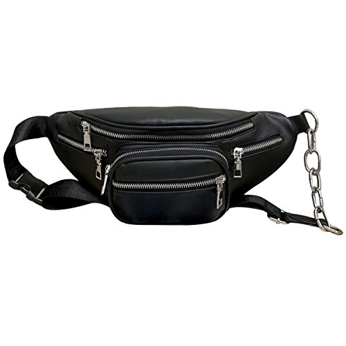 Sherry Fanny Pack Faux Leather Waist Sling Bag Unisex Crossbody Bum Bag (Black)