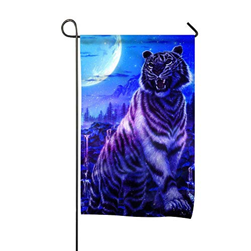 Riuiana Tiger Snowglobe Welcome Garden Flag Double Sided Spring Decorative Rustic/Farm House Decor Flags 12x18 ()