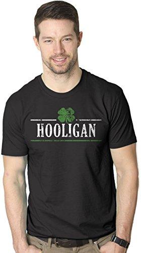 Funny Irish Design Black T-shirt (Crazy Dog T-Shirts Mens Irish Clover Hooligan Funny ST. Paddy's Day Drinking T Shirt (Black) XXL)