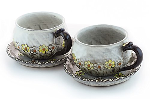 Premium 100% Handcrafted and Hand-painted Ceramic Tea Cup and Saucer Set (Bed of Daisies) ☆ 10 Oz Capacity ☆ Set of 2 Teacups and Matching Saucers ☆ Lead Free Guaranteed ☆ 100% Unique and Wheel Thrown and Hand Molded Tea Cups Made with High Qualit