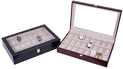 nobrand WWCEEM Elegante Contenitore per Orologi di Alta qualità con Vernice Spray Scatola per Orologi Scatola per Orologi in Legno Solido (Colore: Nero, Misura: S) Nero