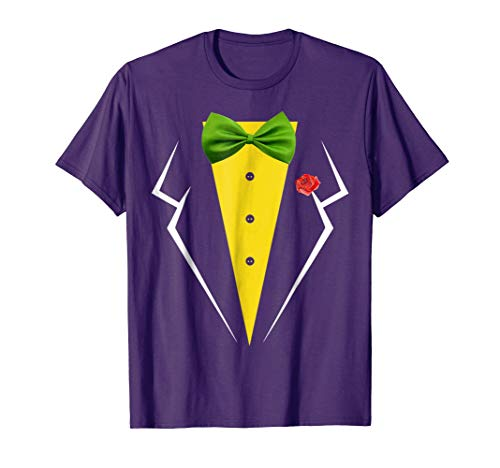 Purple Tuxedo With Green Bow tie Halloween Costume Shirt ()