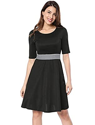 Allegra K Women's Short Sleeve Contrast Waist Striped A-Line Knee Length Dress