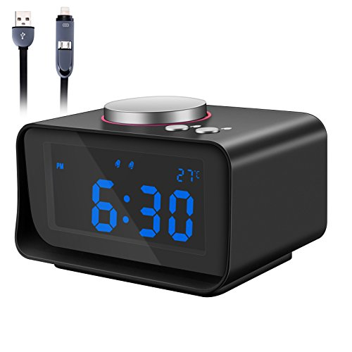 Alarm Clock Radio, Fywonder Digital Alarm Clock, Dual USB Charging Port, Indoor Thermometer, AUX-in Speaker, Brightness Dimmer Night Light, Snooze and Dual Alarm for Office, Travel, Hotel, Bedroom