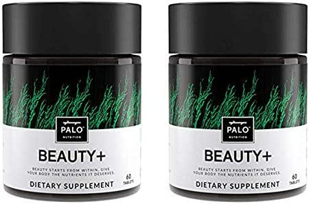 Beauty+ Dietary Supplement for Hair Nails and Skin, 120 Count (2 Pack), All-Natural Biotin, Zinc, Vitamin C and Vitamin A, Made in The USA