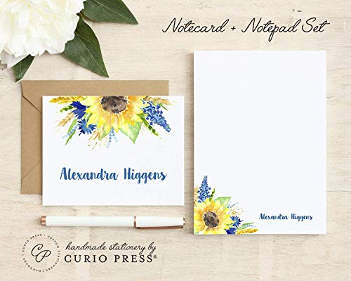 SUNFLOWER / 2 Piece Set/FOLDED CARD + PAD // Personalized Notecard and Notepad Stationery/Stationary Set