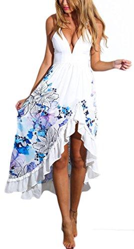 Kleider Damen Sommer Elegant Blumen Chiffon V-Ausschnitt Rückenfrei Ärmellos Bodenlang Maxikleid Strandkleid Weiß Blau Schwarz
