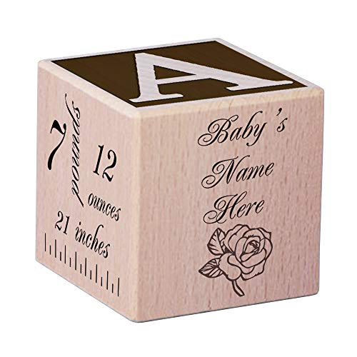 Personalized Engraved Beech Wooden Baby Block for Newborn,Personalized Baby Block New Birth Announcement ()