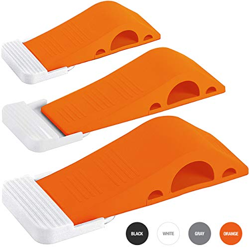Wundermax Decorative Door Stopper with Free Bonus Holders, Door Stop Works on All Floor Surfaces, Premium Rubber Door Stops, The Original (3 Pack, Orange)
