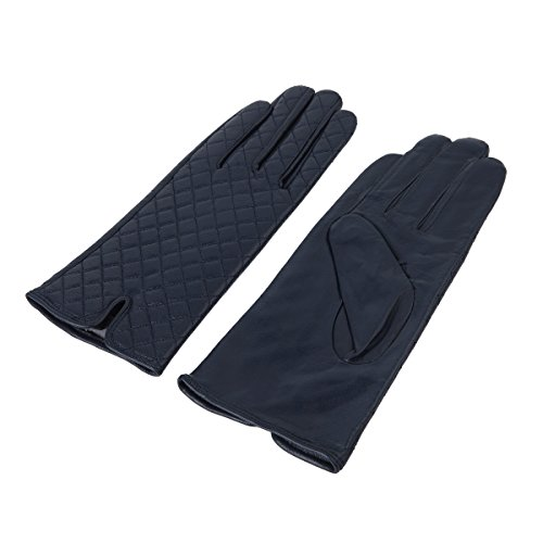 Lady In The Navy Gloves (Elegant Women's Quilted Solid Winter Thermal Soft Leather Gloves, Navy S/M)