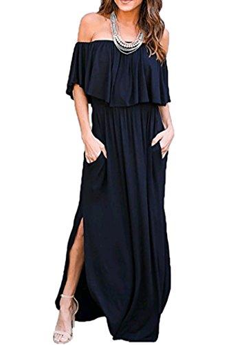 Ruffle Dress Knit (Sidefeel Women Off Shoulder Maxi Jersey Dress Small Black)